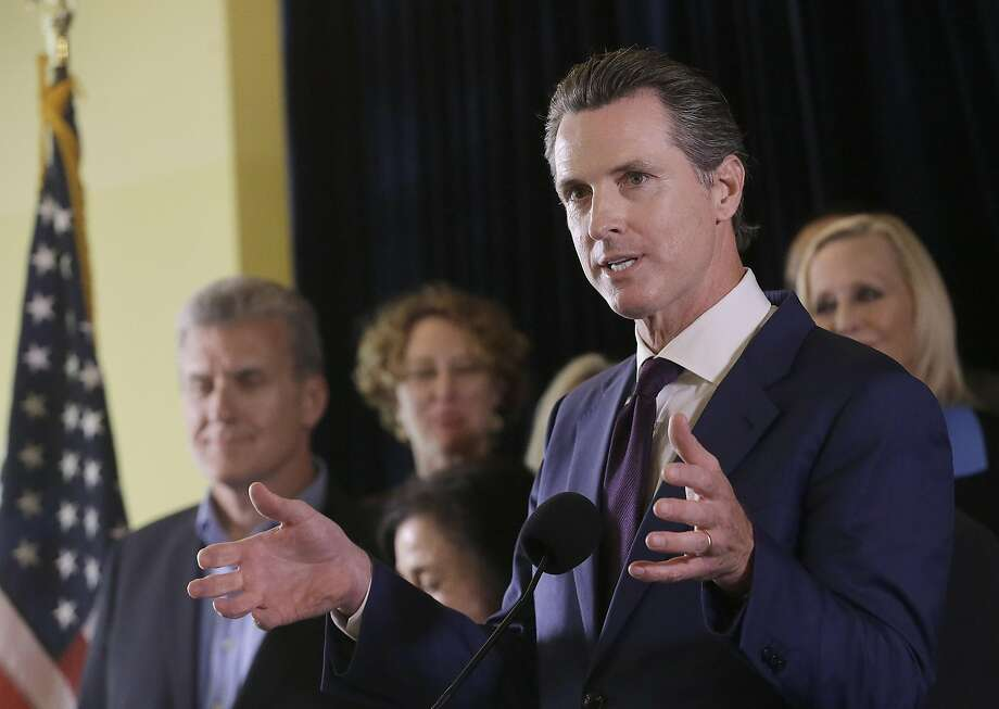 Lt. Gov. Gavin Newsom speaks in support of the Adult Use of Marijuana Act ballot measure in San Francisco, Wednesday, May 4, 2016. Backers of a marijuana legalization initiative said Wednesday they have collected enough signatures for the measure to qualify for the November ballot in California. (AP Photo/Jeff Chiu) Photo: Jeff Chiu, Associated Press