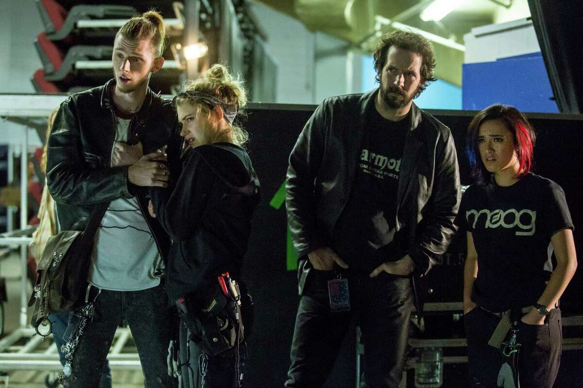 """Peter Cambor (second from right) plays Milo, a roadie on tour with a rock band in """"Roadies,"""" a new TV show by Cameron Crowe"""