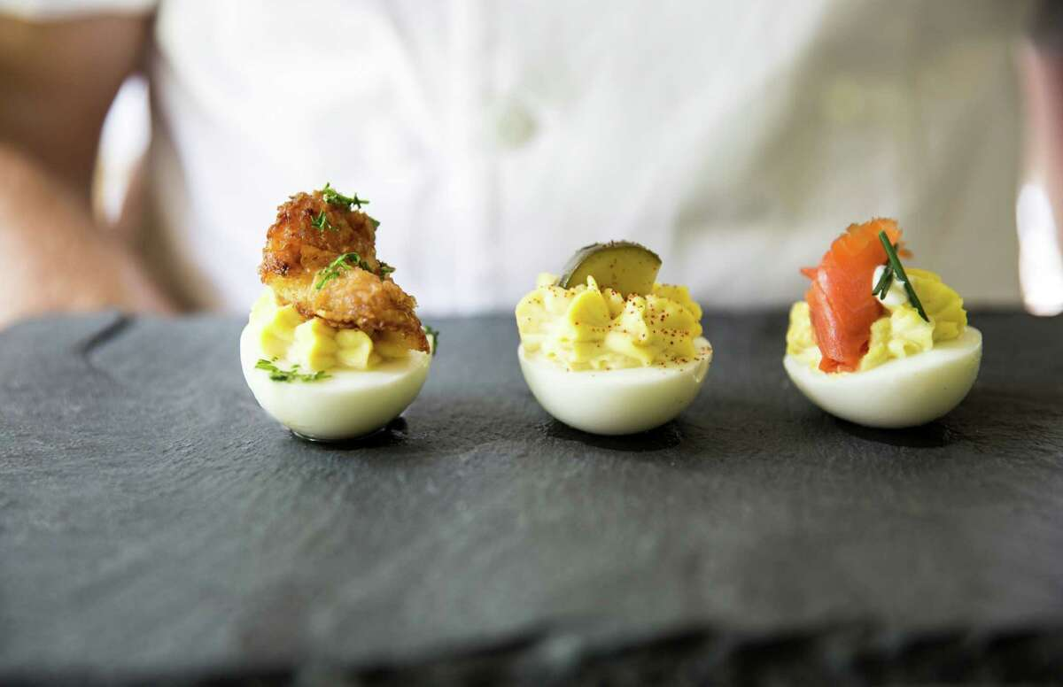 Relish Restaurant & Bar, the second enterprise from the owners of Relish Fine Foods, is scheduled to open early August 2016 at 2810 Westheimer in the former the Bird & the Bear location. Shown: Trio of deviled eggs.
