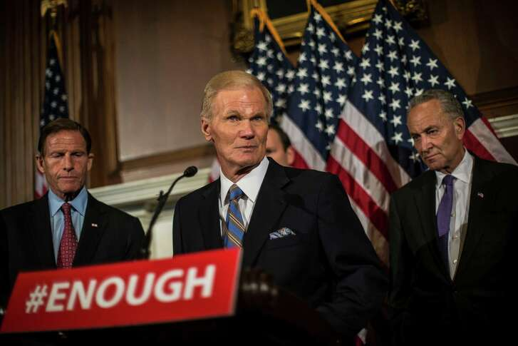 Sen. Bill Nelson (D-Fla.) and other Democratic leaders speak at a news conference after amendments on gun reform failed on Capitol Hill in Washington, June 20, 2016. The Senate on Monday failed to advance four separate measures aimed at curbing gun sales, the latest display of congressional inaction after a mass shooting. (Gabriella Demczuk/The New York Times)