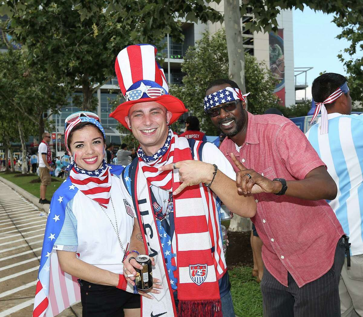 People pose for a photo before COPA semi-final game at NRG Stadium, Tuesday, June 21, 2016, in Houston.