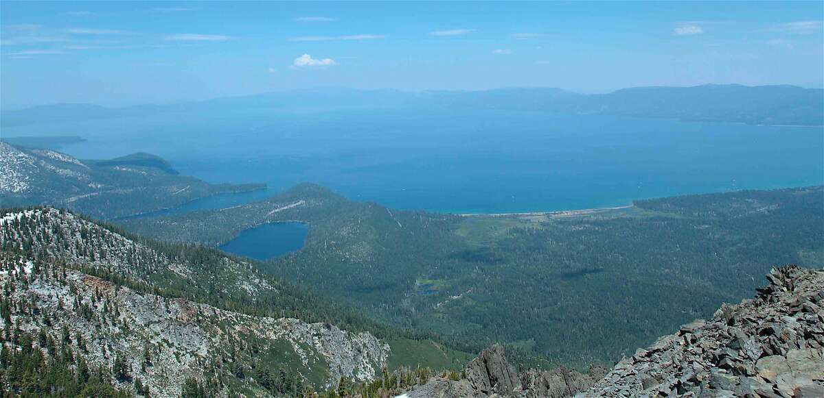 One of the greatest views in North America is from the top of 9,735-foot Mount Tallac. You tower over Lake Tahoe and the Desolation Wilderness, in all more than 5,000 square miles of paradise. To get it, you climb 3,175 feet in 5.8 miles, one-way.