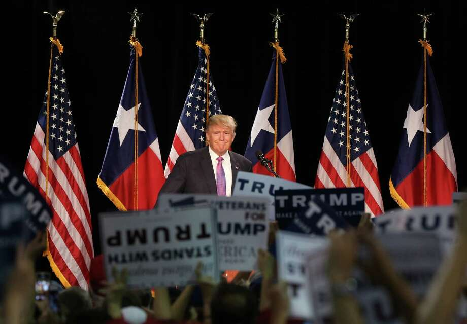 Donald Trump was greeted at a campaign rally in The Woodlands in 2016. Earlier in the day, he attended a fundraising event at the River Oaks mansion of Houston lawyer Tony Buzbee. He'll be back in Texas this year to raise more money. Photo: Jon Shapley, Staff / © 2015  Houston Chronicle