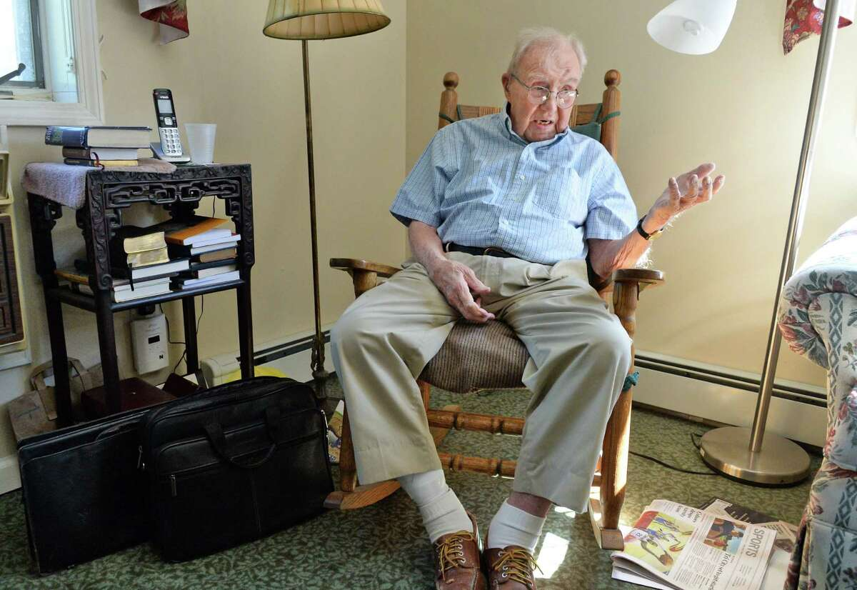 Bishop Ball, retired head of the Episcopal diocese, who turned 90 and survived a fall and broken neck during an interview at his Loudonville Assisted Living apartment Friday June 17, 2016 in Albany, NY. (John Carl D'Annibale / Times Union)