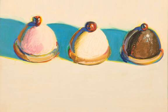 """""""Three Treats,"""" is among four Wayne Thiebaud paintings given by the artist to the new museum at UC Davis"""