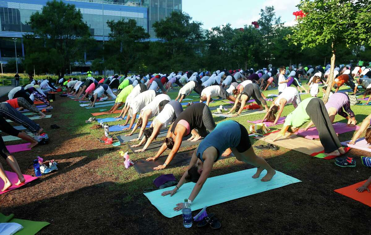Free Yoga This is an ohm-mazing deal for anyone looking for zen on the cheap. Free yoga classes are offered at Hermann Park Saturdays at 8:15 a.m., and also at Discovery Green on Saturdays at 9 a.m.