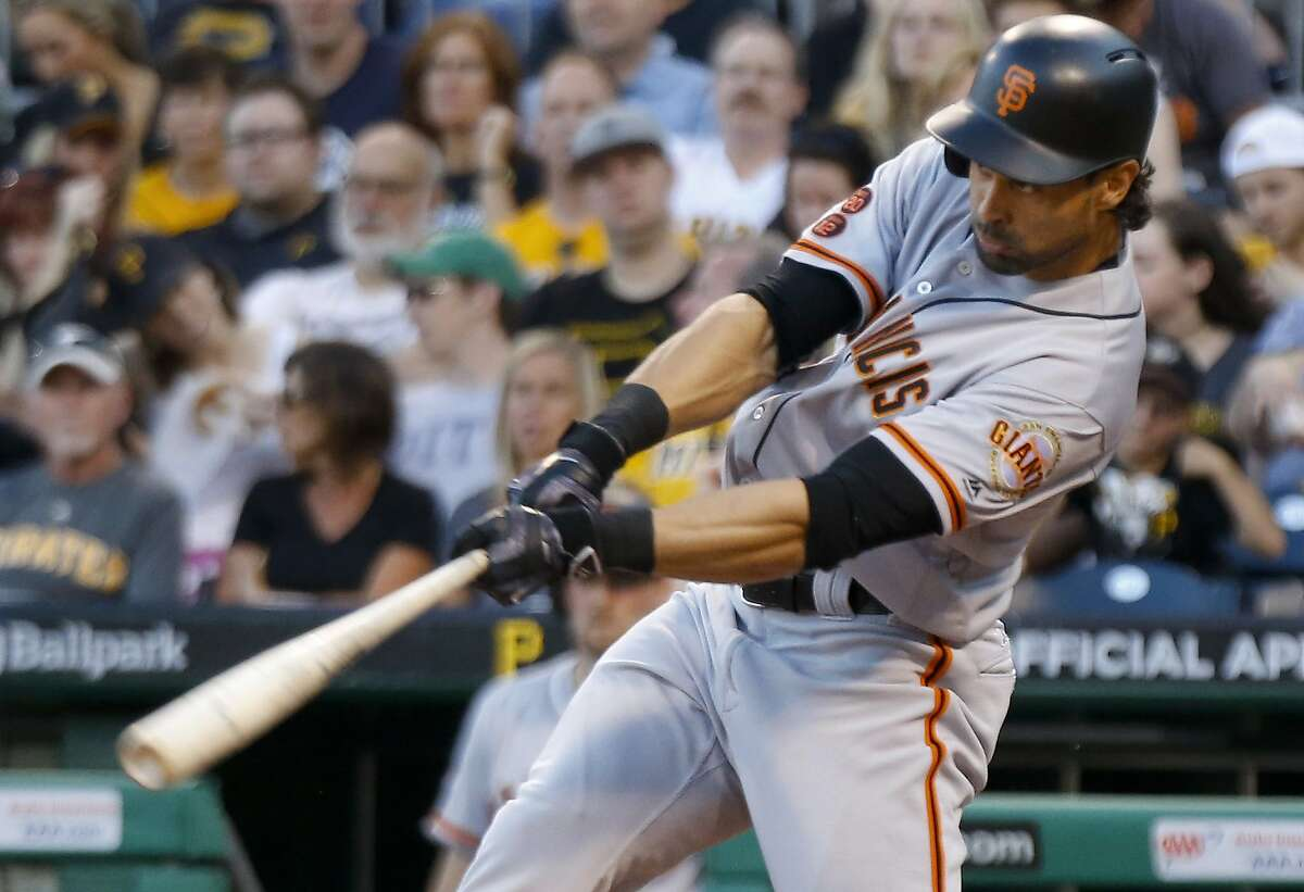 San Francisco Giants' Angel Pagan hits a grand slam off Pittsburgh Pirates starting pitcher Wilfredo Boscan during the fourth inning of a baseball game, Tuesday, June 21, 2016, in Pittsburgh. (AP Photo/Keith Srakocic)