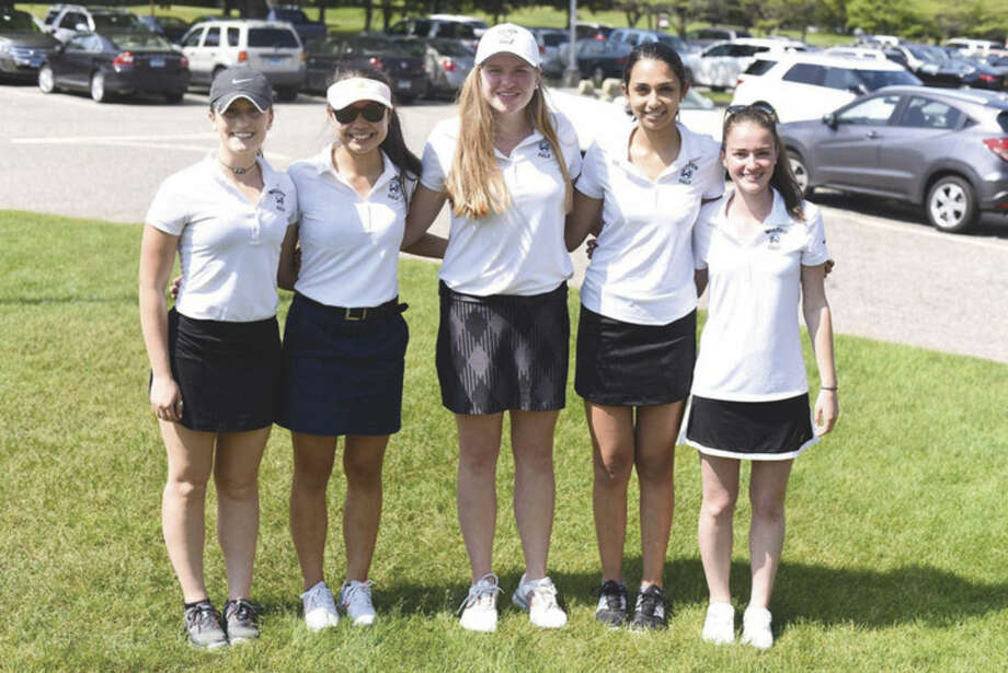 The Wilton girls varsity golf team includes, from left, Karli Williams, Caroline Yee, NoraNoel Nolan, Maya Fazio and Morgan Hickey. Photo: John Nash