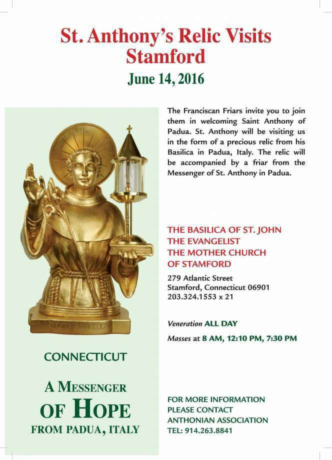 A first-class relic of St. Anthony of Padua will be displayed at the Basilica of St. John the Evangelist on Tuesday, June 14, the day after the saint's feast day. (Photo: Contributed)