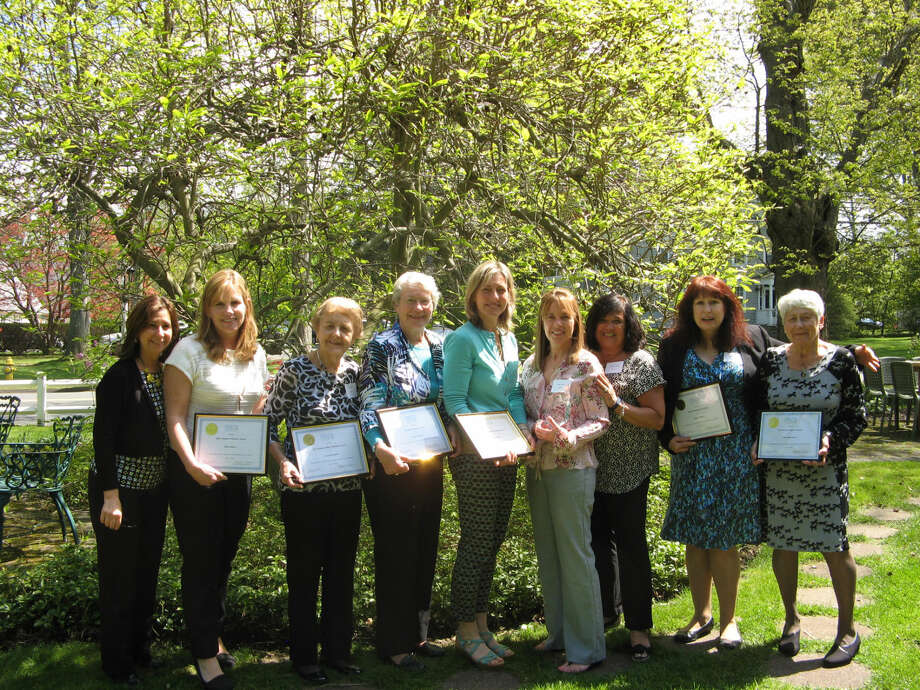 The volunteers of Visiting Nurse & Hospice of Fairfield County were honored at an awards ceremony and luncheon.  Pictured here (from left) are Laurie Petrasanta, Diana Metro, Carol Bernhard, Anne Patterson, Deb Rakich, Dawn Jeffrey, Christine Pfeffer, Linda Roberts, and Inge Maerowitz. Photo: Contributed Photo