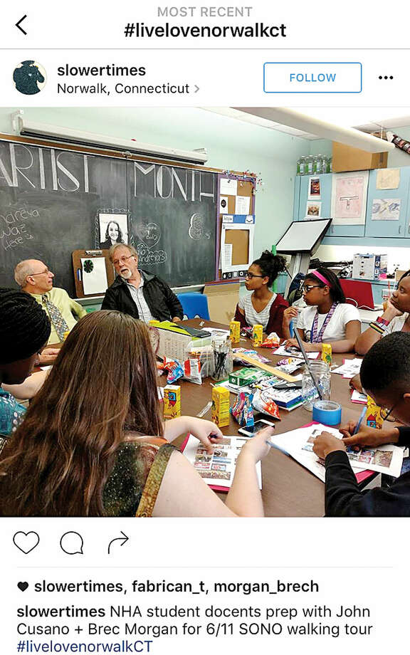 Instagram user @slowertimes, run by Norwalk Arts Commission Chairman Susan Wallerstein, posted this photo last month showing the commission's work with Norwalk Housing Authority students, preparing them for public art walking tours set to take place later this month. Wallerstein utilized #LiveLoveNorwalkCT so Norwalkers could learn about the student project.