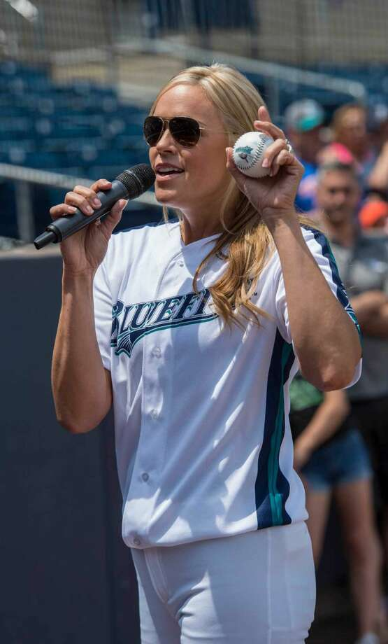 The Bridgeport Bluefish with softball star Jennie Finch as guest manager against the Southern Maryland Blue Crabs during a baseball game played at the Ballpark at Harbor Yard, Bridgeport, CT on Sunday, May 29, 2016. Photo: Mark Conrad