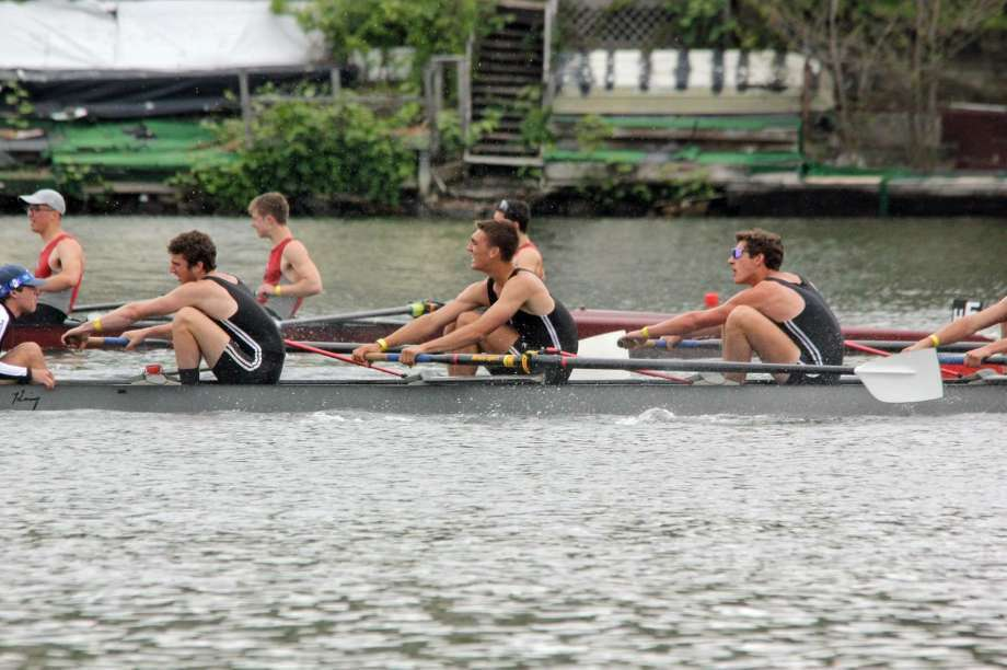 The SRC Men's Varsity 8+ in heated competition -- Jake Hulina, Lucas Manning, Oliver Bub and Harry Burke-- at the USRowing Northeast Youth Championships in Worcester, Massachusetts, held May 21-22. Photo: Contributed Photo