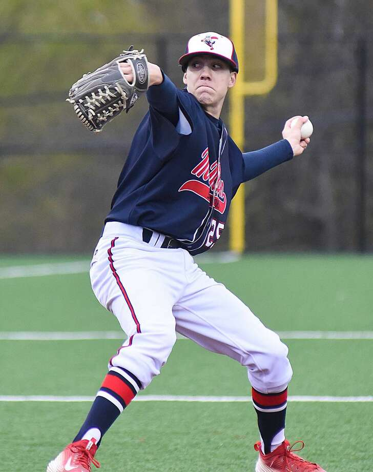 Brien McMahon pitcher/first baseman Matt Galyas will be one of three key starters for the Norwalk Post 12 American Legion baseball team this summer. Photo: John Nash