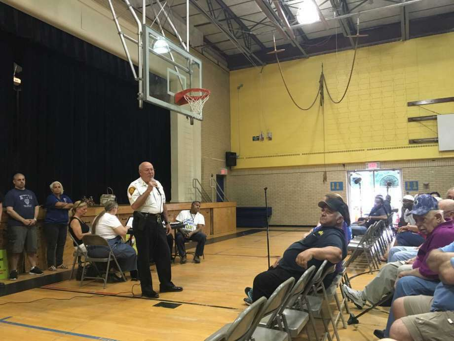 "Bridgeport Police Chief Armando ""A.J."" Perez speaks to North End residents during a meeting of the City Council's public safety committee at Blackham School on Tuesday, June 7, 2016. (Photo: Neil Vigdor)"