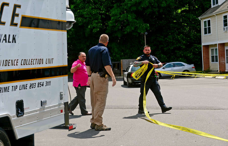 Norwalk police are investigating a Monday morning stabbing that occurred on a busy stretch of Main Avenue in Norwalk, Conn shortly after 10 a.m. on Wednesday, June 8, 2016. The victim was rushed to Norwalk Hospital with injuries to the neck, chest and hands. Police are still searching for the suspect. Photo: Erik Trautmann