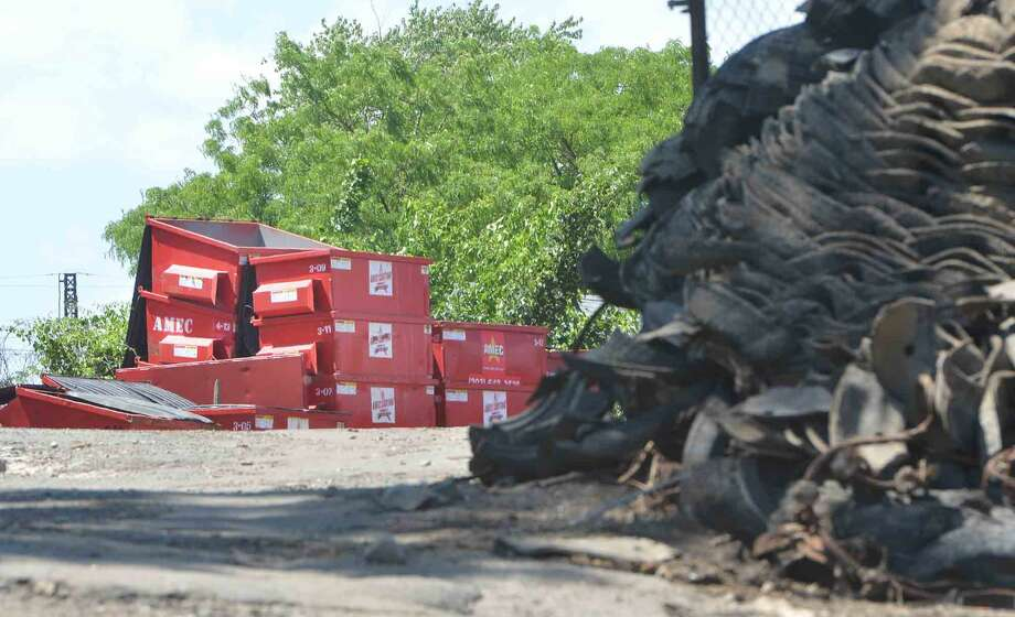 Containers are stacked at the AMEC property off Hemlock Pl. on Monday June 6 2016 in Norwalk Conn. Photo: Alex Von Kleydorff