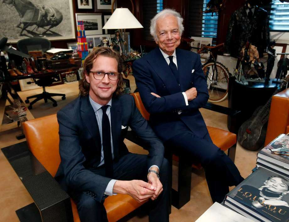 FILE - In this Tuesday, Sept. 29, 2015, file photo, designer Ralph Lauren, right, poses in his office with Stefan Larsson, global brand president for Old Navy, in New York. Ralph Lauren Corp. said Tuesday, June 7, 2016, it plans to close stores, focus on its more popular brands and remove layers of its management team to save costs. The shakeup comes seven months after the fashion company hired new CEO Larsson to reverse falling profits. (Photo: Jason DeCrow, AP)