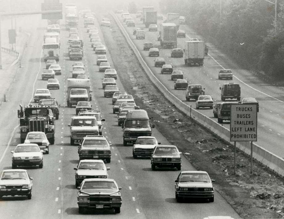 In 1988, smog dulls the view along the Connecticut Turnpike in Darien by the eastbound rest area. There has been a steady improvement in reducing ozone pollution. Since 1996, there have been 27.5 less ozone days in Fairfield County, according to the American Lung Association. (Photo: Tom Ryan / ST)