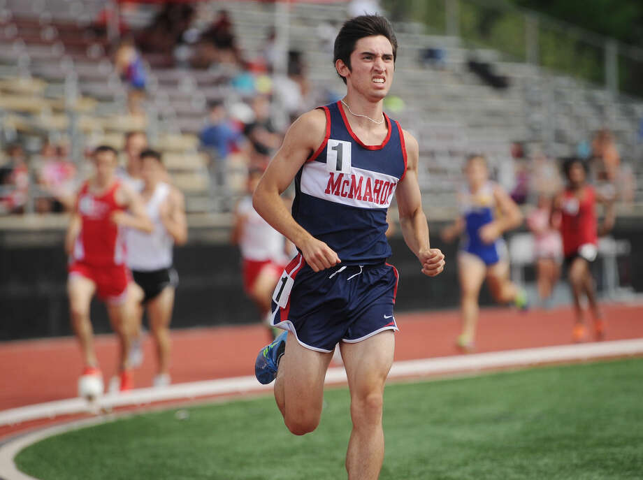 Brien McMahon's Eric VanDerEls races to a state record 4:08.42 in the 1600 meters at the State Open track championships at New Britain Stadium in New Britain, Conn. on Monday, June 6, 2016. Photo: Brian A. Pounds