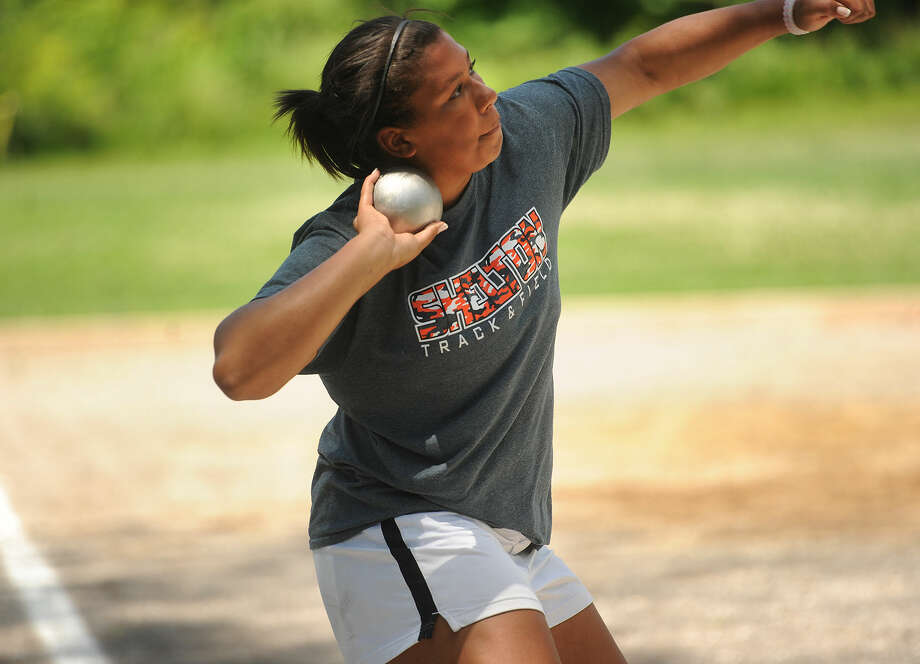 Shelton High School's Samantha Stevens wins the shot put event at the State Open track championships at New Britain Stadium in New Britain, Conn. on Monday, June 6, 2016. Photo: Brian A. Pounds