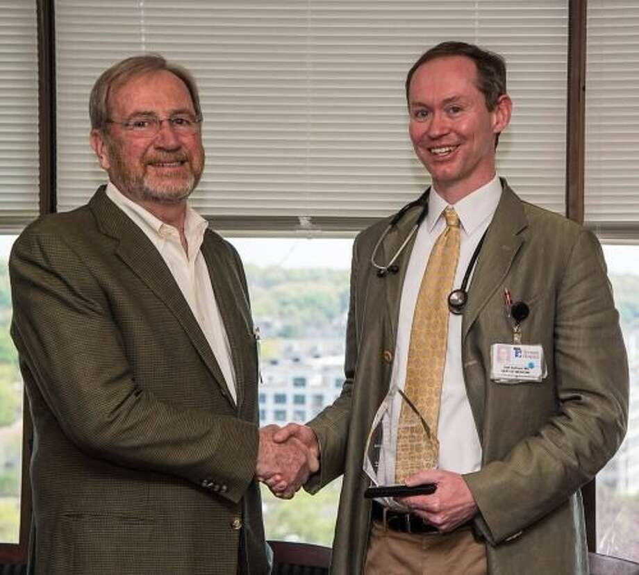 David Tait (left) nominated Dr. Seth Sullivan  for the Vasculitis Foundation RED (Recognizing Excellence in Diagnostics) Award. Photo: Contributed Photo