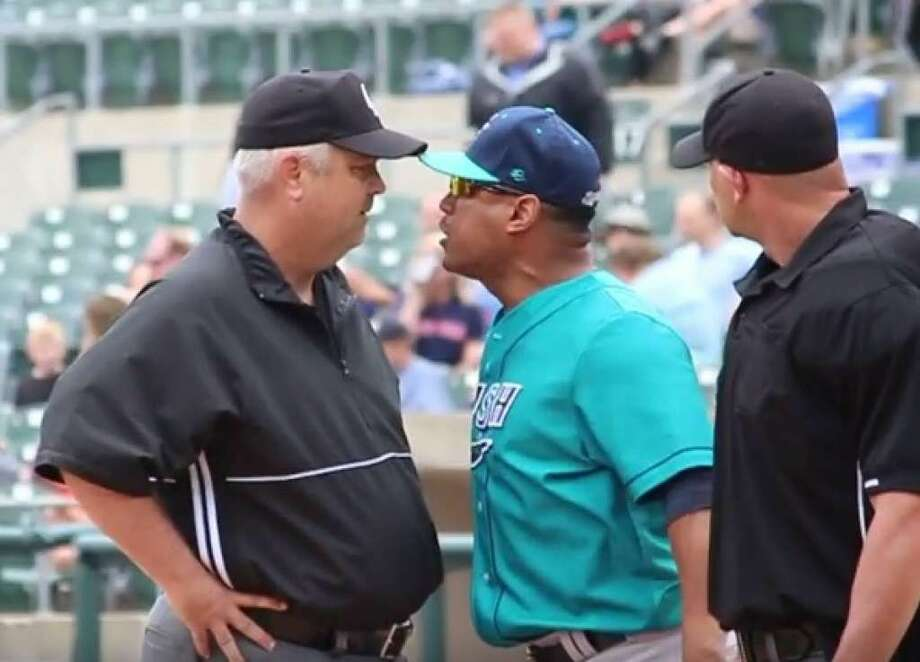 A screenshot from a YouTube video shows Bridgeport Bluefish manager Luis Rodriguez arguing with umpires Sunday in a game in Bridgewater Township, N.J.