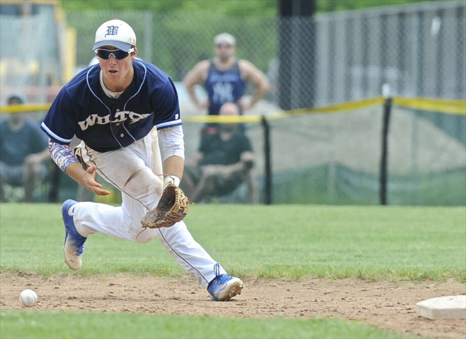 Connecticut Class LL quarterfinal baseball game between Wilton and New Fairfield high schools, on Saturday, June 4, 2016, at New Milford High School, New Milford, Conn. Photo: H John Voorhees III