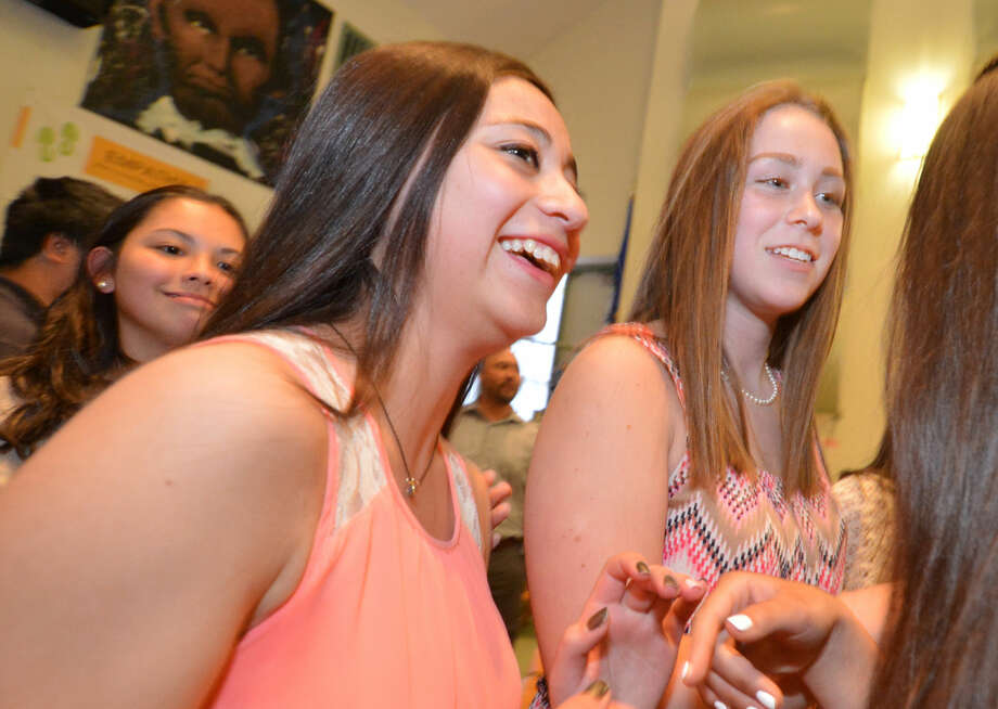 Sara Smeriglio and Frankie Deleo during the West Rocks Middle School Eighth Grade Scholar Circle Reception in Norwalk Conn. May 10, 2016 Photo: Alex Von Kleydorff