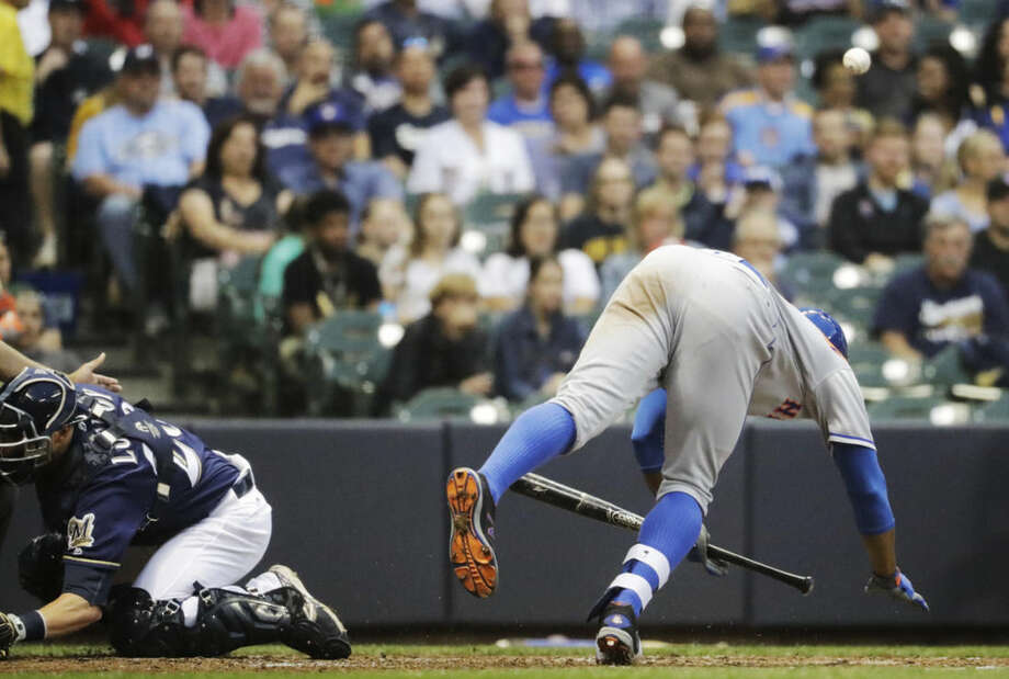 New York Mets' Curtis Granderson is hit by a pitch during the fourth inning of a baseball game against the Milwaukee Brewers Thursday, June 9, 2016, in Milwaukee. (AP Photo/Morry Gash) Photo: Morry Gash