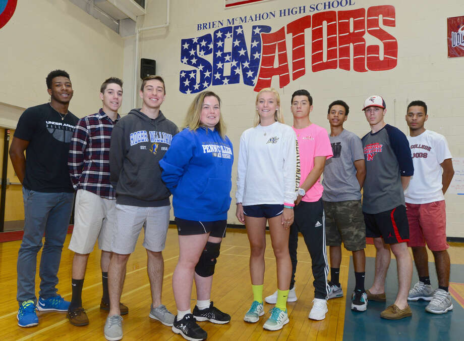 Brien McMahon High School seniors who will be playing sports for the colleges they will be attending this fall include; Jahmerikah Green-Younger, basketball for Albertus Magnus, Matthew Galyas, baseball for Manhattenville College, Stathi Panagiotidis, soccer for Roger Williams, Danielle Bonis, softball for Penn College, Hailey Keelips, swimming for Merrimack College, Hunter Dumas, baseball for Albertus Magnus, Wady Almonte, baseball for Albertus Magnus, Jeff Vitatoe, baseball for American International and TJ Burden, basketball for Dean College. Photo: Erik Trautmann