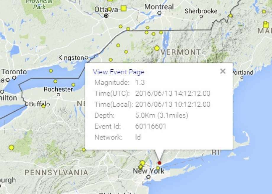 Location of 1.3 magnitude tremor near Stamford, Conn. June 13, 2016. (Photo: Courtesy Of The Lamont-Doherty Cooperative Seismographic Network)