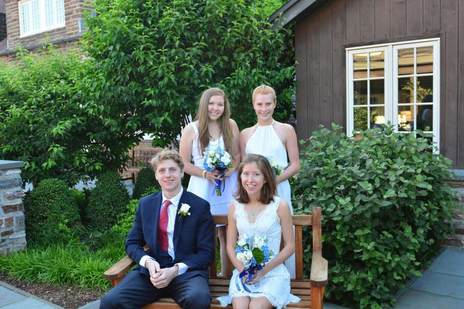 Bottom row from left: Simon Stone and Maggie Boudreau, class salutatorian; top row from left: Molly Dolan and Lydia Picoli. Photo: Contributed Photo