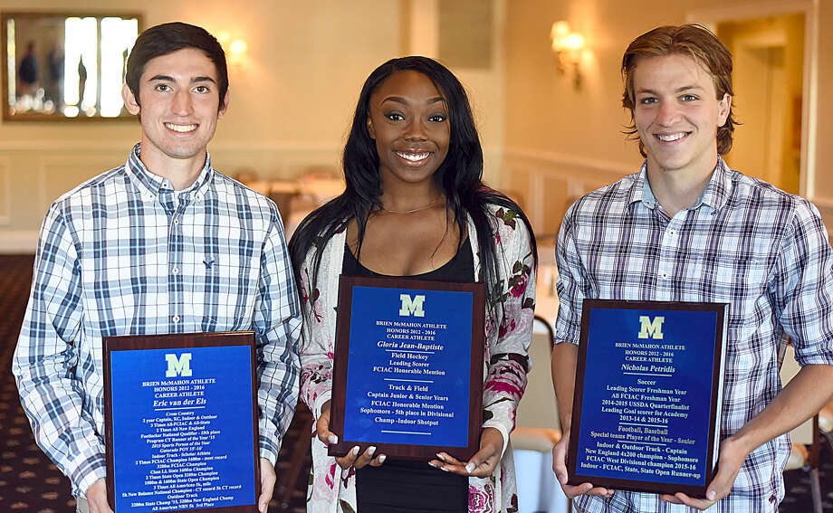 Brien McMahon High School Career Athlete Award winners, from left, Eric van der Els, Gloria Jean-Baptiste and Niko Petridis were honored during a special senior breakfast at Chatham Manor in Norwalk on Tuesday. Photo: John Nash