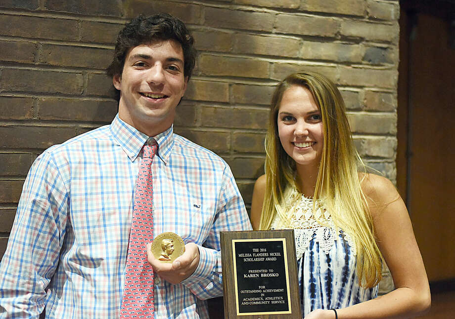 Wilton High seniors RJ Romeo, left, and Karen Brosko were the bigger winners at Monday night's Senior Athletic Awards Night at the school's Little Theater. Rocco won the 49th annual Lt. John G. Corr Memorial Award given to the school's top male student-athlete while Brosko won the Melissa Nickel Award given to the top girl. Photo: John Nash