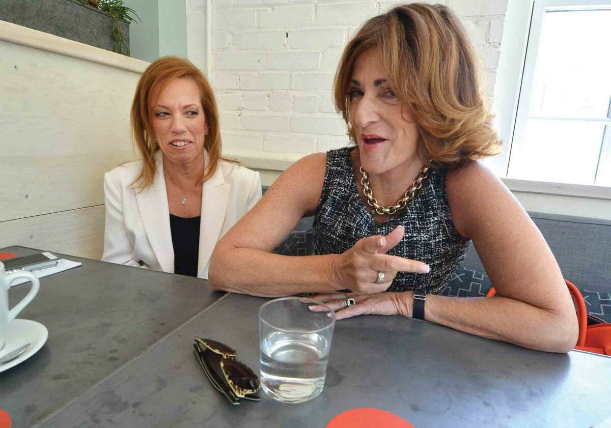Sylvia Beckerman Founder and CEO of Aprés Divorce talks with her friend Linda Patscot about how they help women rebuild their lives after their marriage or long term relationship ends, on Thursday June 9 2016 in Westport Conn.