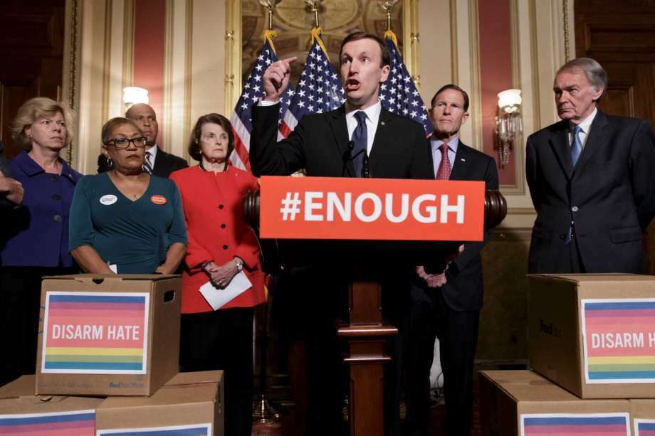 Sen. Chris Murphy, D-Conn., center, calls for gun control legislation in the wake of the mass shooting in an Orlando LGBT nightclub this week, Thursday, June 16, 2016, on Capitol Hill in Washington. From left are, Sen. Tammy Baldwin, D-Wis., Rev. Sharon Risher, Risher, a clinical trauma chaplain in Dallas, who lost her mother Ethel Lance and two cousins in the racially-motivated shooting at the historic Emanuel AME Church in Charleston, N.C. in 2015, Sen. Cory Booker, D-N.J., Sen. Dianne Feinstein, D-Calif., Murphy, Sen. Richard Blumenthal, D-Conn., and Sen. Ed Markey, D-Mass. (Photo: J. Scott Applewhite, AP)