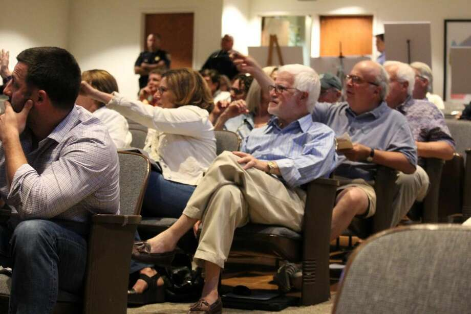 The audience reacts to the DOT at a meeting on the fate of the Saugatuck Swing Bridge at Town Hall on June 6,2016 in Westport, CT. Photo: Chris Marquette
