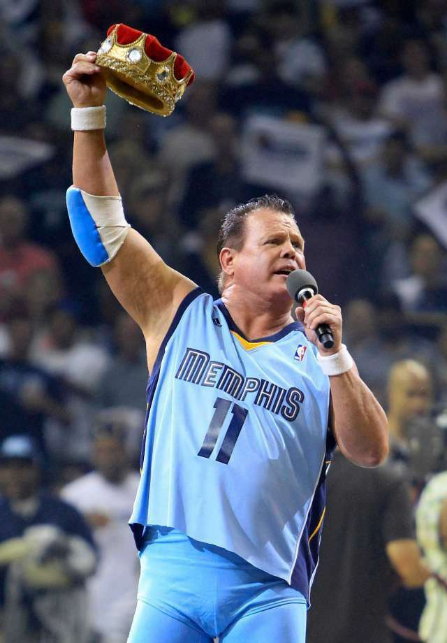 "FILE - In this April 23, 2011, file photo, professional wrestler Jerry ""The King"" Lawler gestures to fans before the start of Game 3 of a first-round NBA basketball series between the Memphis Grizzlies and the San Antonio Spurs, in Memphis, Tenn. Police in Tennessee say Lawler and his girlfriend have been arrested on charges of domestic violence after responding to a call at Lawler's home Thursday night, June 16, 2016, in East Memphis. (Photo: Mark Humphrey, AP)"