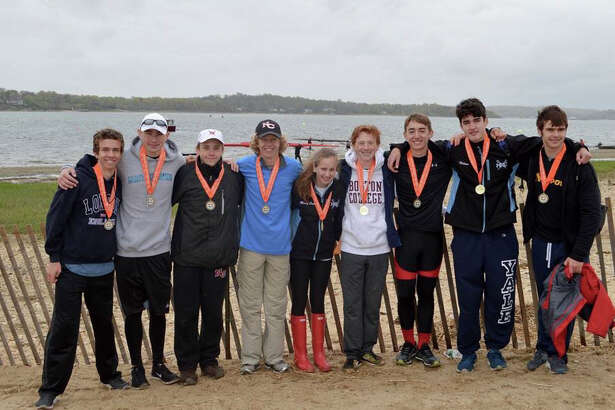 New Canaan rowers from left to right: Tyler Brennan, Kevin Fanning, Max Lindeis, Max Plum, Mary Cate Carlo, Michael D'Agostino, Tyler Kortekaas, James Hilton and Grant Hanauer.
