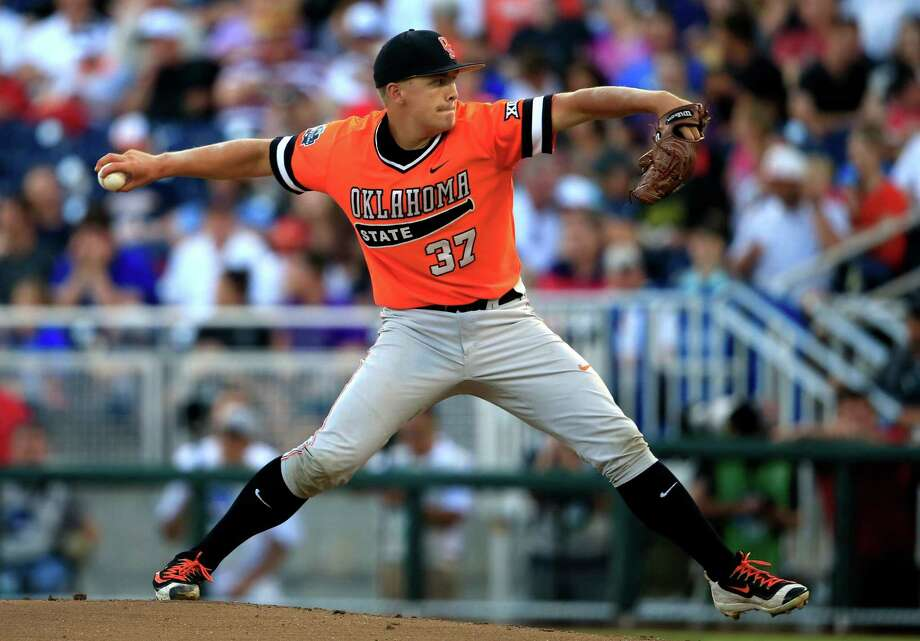 Oklahoma State starting pitcher Tyler Buffett, who was the Astros' seventh-round draft pick this year, throws during the first inning of an NCAA College World Series baseball game against Arizona on June 20 in Omaha, Neb. (AP Photo/Nati Harnik) Photo: Nati Harnik, STF / Copyright 2016 The Associated Press. All rights reserved. This material may not be published, broadcast, rewritten or redistribu