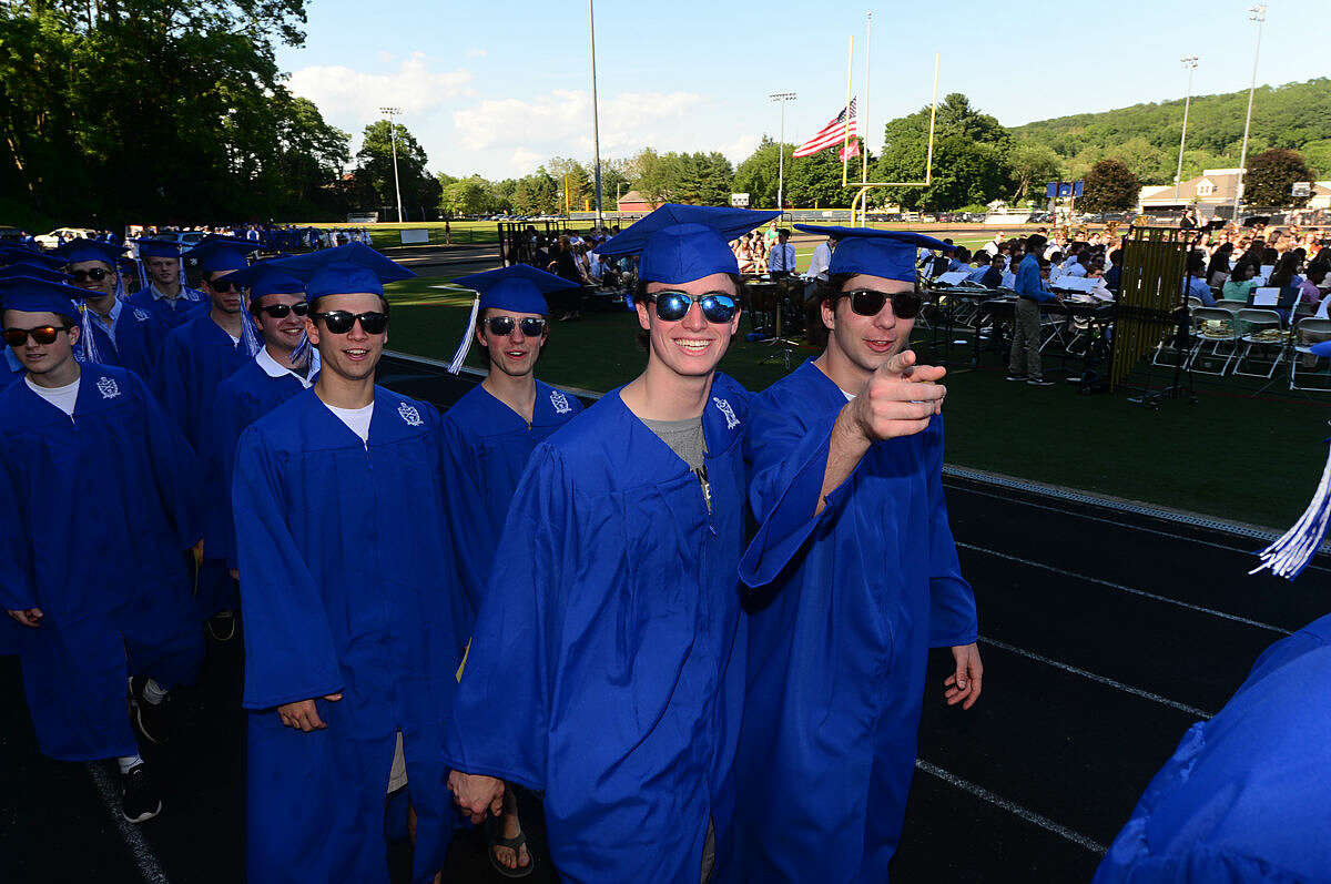 Wilton High School seniors celebrate the graduation of the Class of 2016 during the commencement excercises Saturday, June 18, 2016, at Wilton High School in Wilton, Conn.