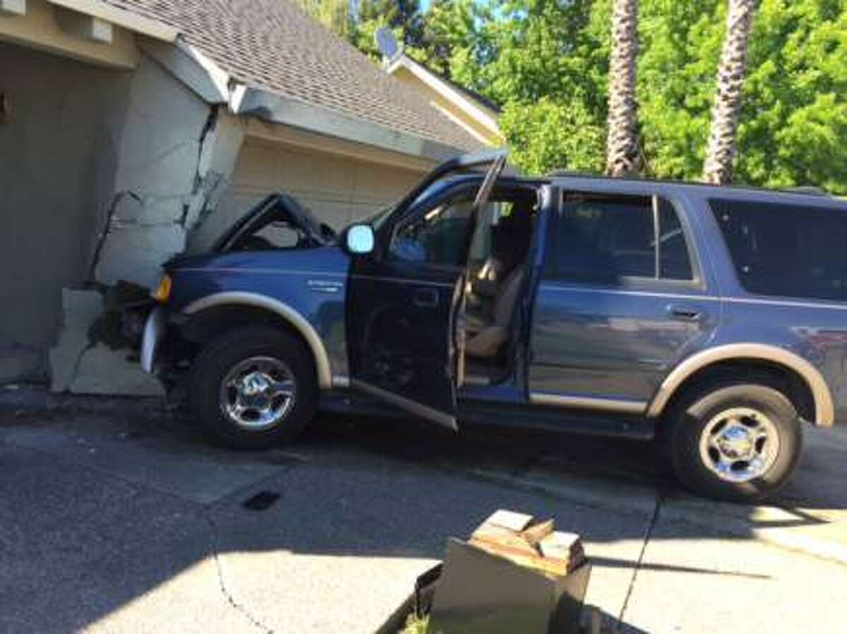 The 51-year-old driver of this SUV was arrested on suspicion of drunken driving after he lost control of the vehicle and slammed into a house in the 200 block of Bond Avenue in Petaluma.