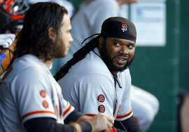 PITTSBURGH, PA - JUNE 21:  Johnny Cueto #47 of the San Francisco Giants talks to Brandon Crawford #35 in the dugout during the game against the Pittsburgh Pirates at PNC Park on June 21, 2016 in Pittsburgh, Pennsylvania.  (Photo by Justin K. Aller/Getty Images)