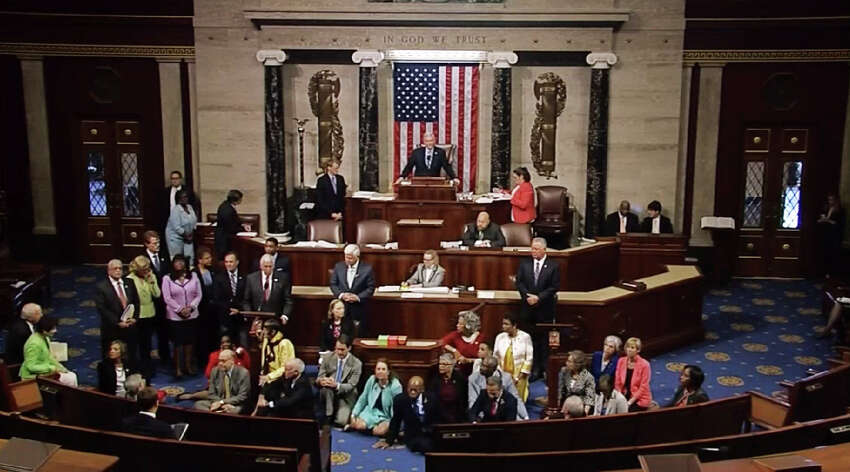 This video grab courtsy of CSPAN shows a sit-in at the US House of Representatives on June 22, 2016 in Washington, DC. US Democrats staged a rare sit-in Wednesday in the House of Representatives, demanding that the Republican-led body vote on gun-control legislation following the Orlando nightclub massacre.