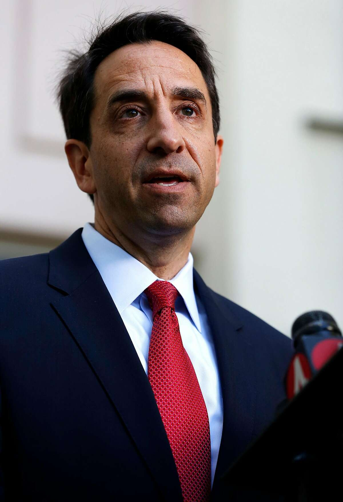 District attorney Jeff Rosen speaks to members of the media during a news conference outside Santa Clara County Superior Court in Palo Alto, California, on Wednesday, June 22, 2016.