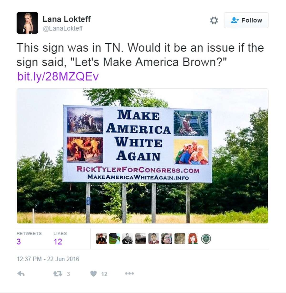 """""""This sign was in TN. Would it be an issue if the sign said, 'Let's Make America Brown?"""""""