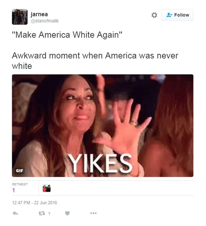 """'Make America White Again' Awkward moment when America was never white"""
