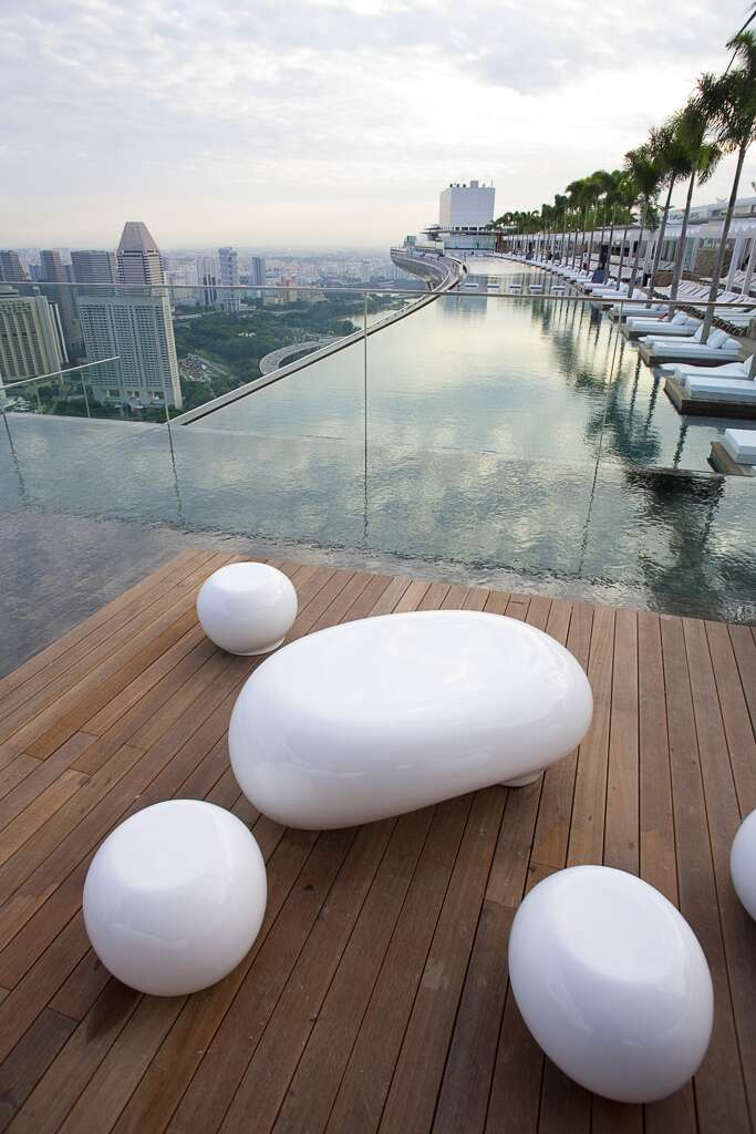 A rooftop swimming pool at the Marina Bay Sands Hotel in Singapore. Photo: BSIP, UIG, Getty Images
