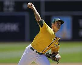 Oakland Athletics pitcher Daniel Mengden works against the Texas Rangers in the first inning of a baseball game Thursday, June 16, 2016, in Oakland, Calif. (AP Photo/Ben Margot)